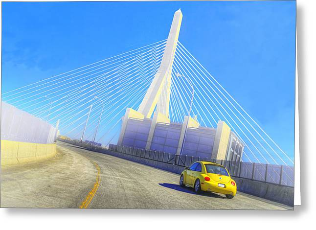 Interstate 93 In Boston Greeting Card by Rick Mosher