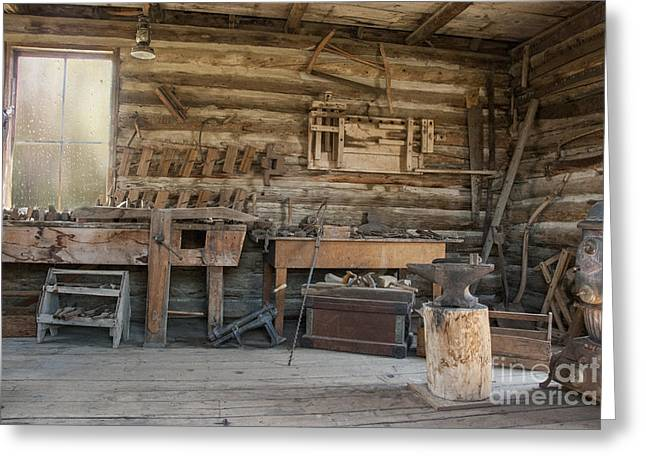Interior Of Historic Pioneer Cabin Greeting Card