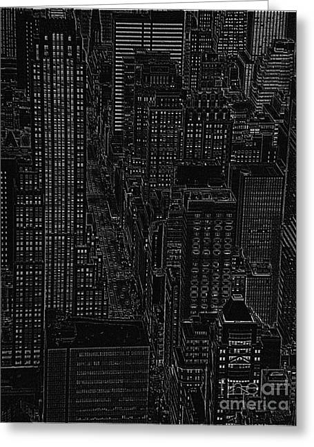 Into Nyc White On Black Greeting Card by Meandering Photography