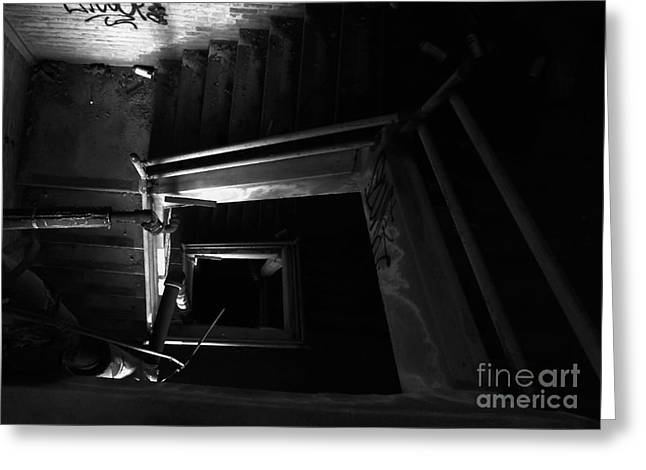 Into The Abyss - Bw Greeting Card