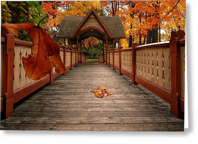 Into The Autumn Greeting Card by Lourry Legarde