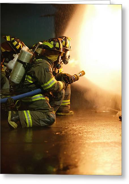 Into The Beast - Firefighter Greeting Card by Henry Inhofer