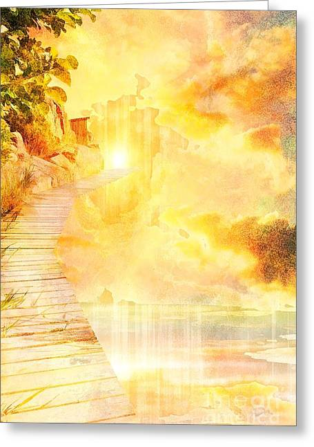 Into The Light Greeting Card by Liane Wright