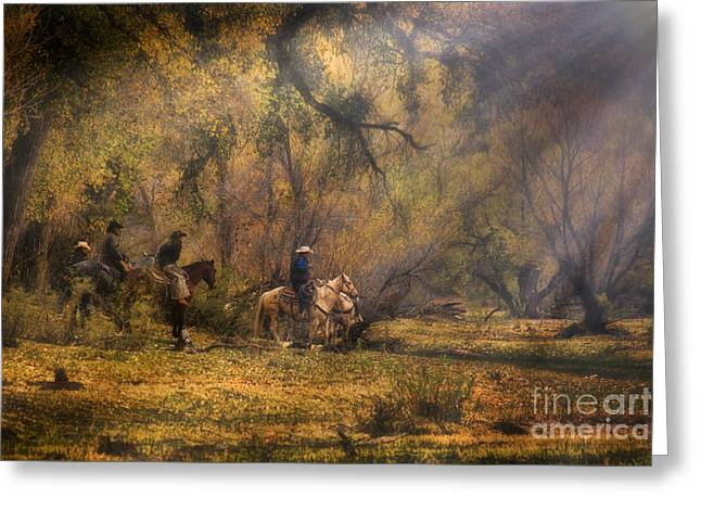 Into The Light Greeting Card by Priscilla Burgers