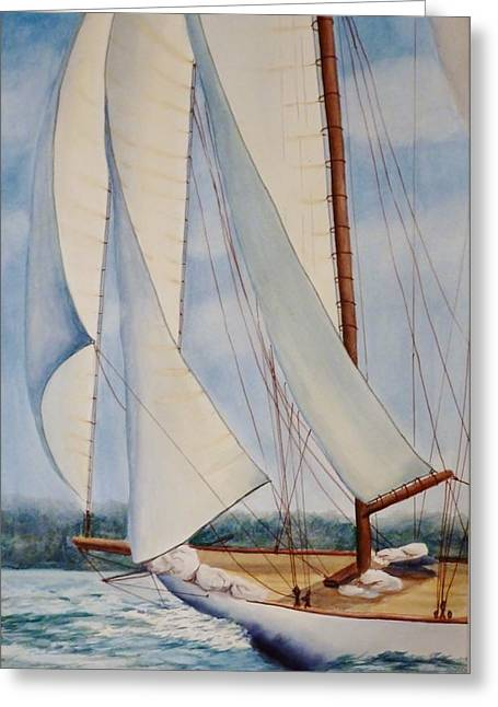 Into The Wind Greeting Card by Judy Meng
