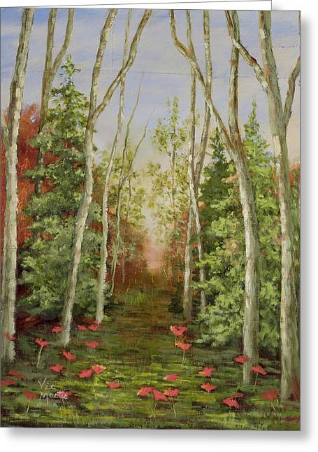 Greeting Card featuring the painting Into The Woods Series-cedar by Vic  Mastis