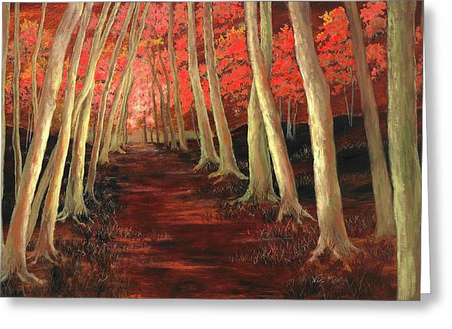 Greeting Card featuring the painting Into The Woods Series-orange by Vic  Mastis