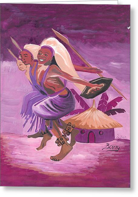 Greeting Card featuring the painting Intore Dance From Rwanda by Emmanuel Baliyanga