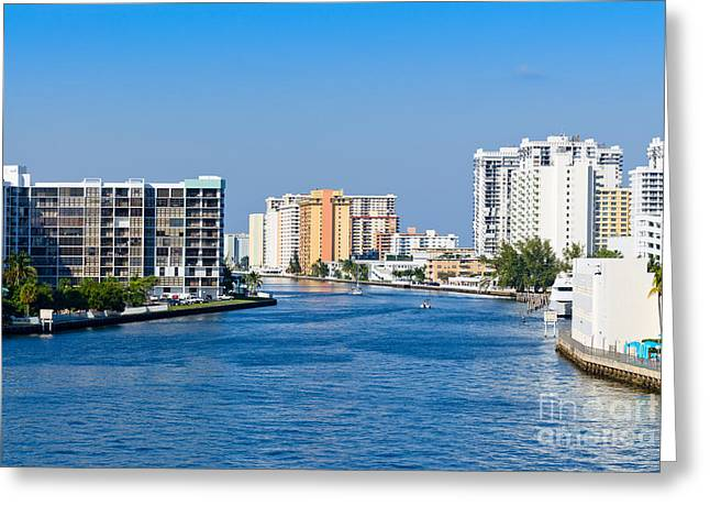 Intracoastal Waterway In Hollywood Florida Greeting Card