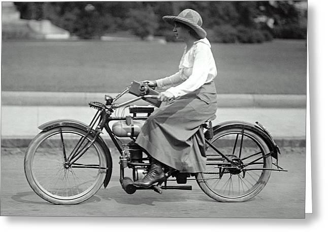 Intrepid Woman On Motorcycle C. 1917 Greeting Card by Daniel Hagerman