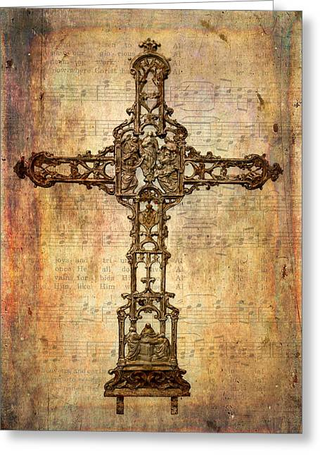 Intricate Rusty Iron Cross Greeting Card by David and Carol Kelly