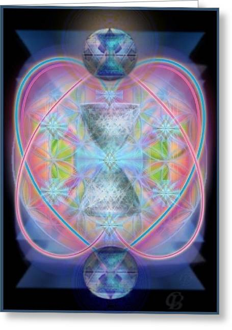 Intwined Hearts Chalice Gold Orb In Bright Synthesis Greeting Card