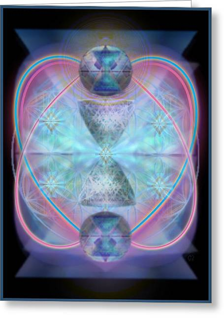 Intwined Hearts Chalice Shimmering Turquoise Vortexes Greeting Card by Christopher Pringer