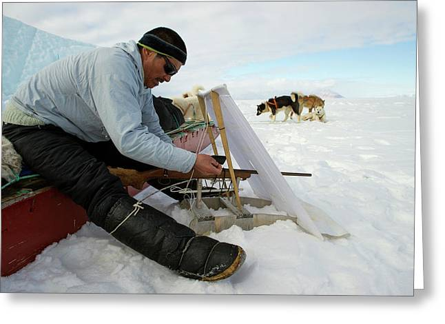 Inuit Hunter With Rifle And Hunting Blind Greeting Card
