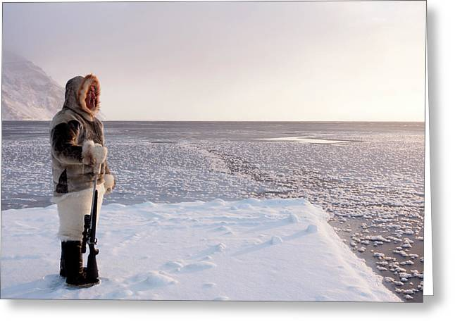 Inuit Hunter With Rifle Greeting Card