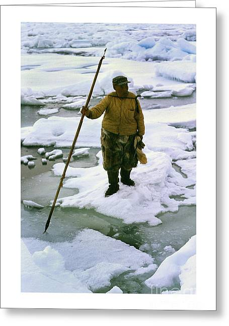 Greeting Card featuring the photograph Inuit Seal Hunter Barrow Alaska July 1969 by California Views Mr Pat Hathaway Archives