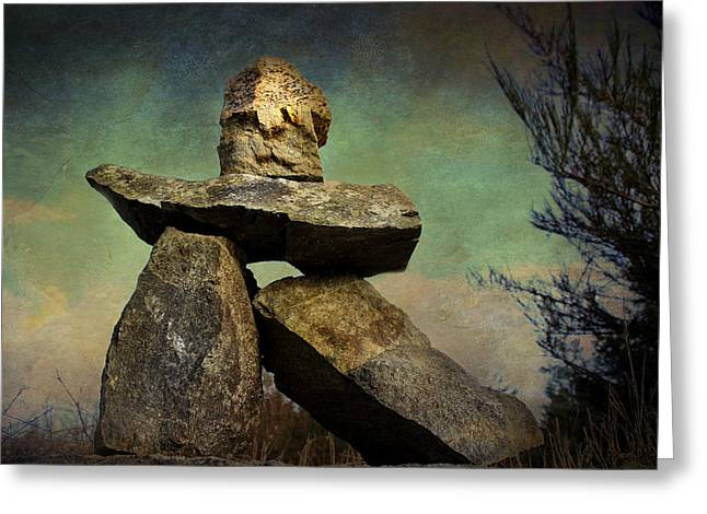 Greeting Card featuring the photograph Inukshuk I by Peggy Collins