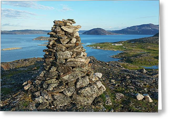 Inukshuk Near Hebron  Labrador, Canada Greeting Card by Carl Bruemmer
