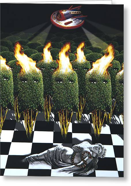 Invasion Of The Alien Bushes Greeting Card