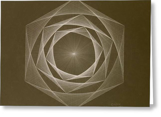 Inverted Energy Spiral Greeting Card by Jason Padgett