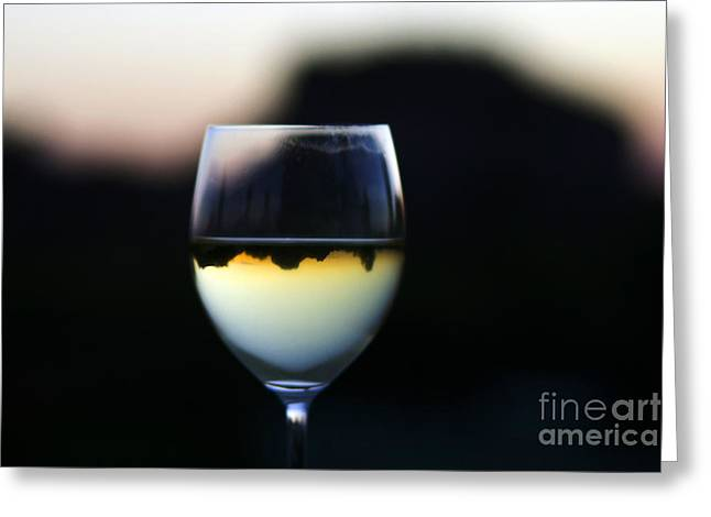 Inverted Landscape In Wine Glass Greeting Card