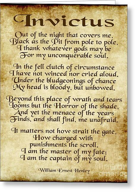 Invictus - Old Parchment Design Greeting Card by Ginny Gaura