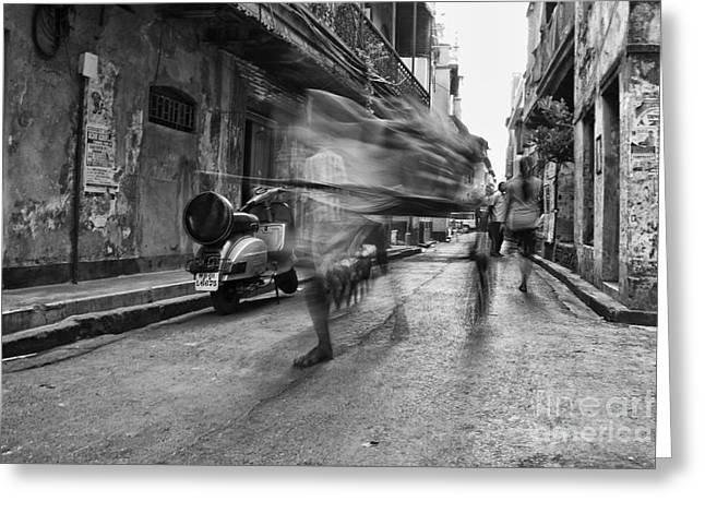 Invisible Rickshaw Puller Greeting Card by Soumya Shankar Ghosal