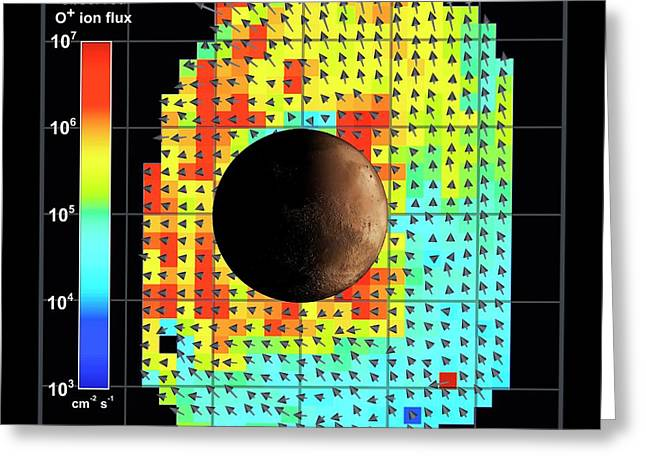 Ion Flux Map Of Solar Wind And Mars Greeting Card