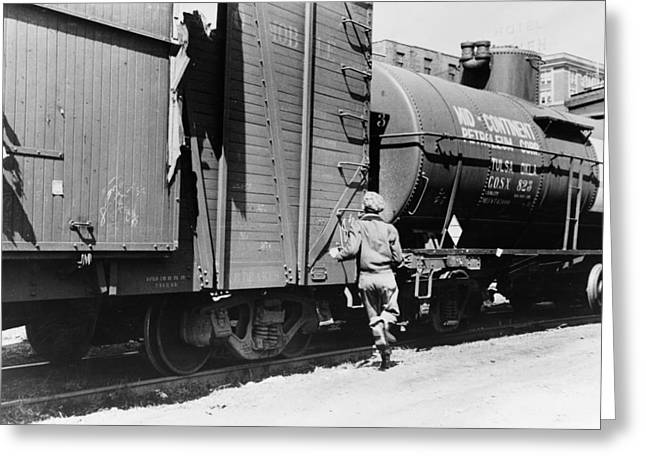 Iowa Freight Train, 1940 Greeting Card by Granger