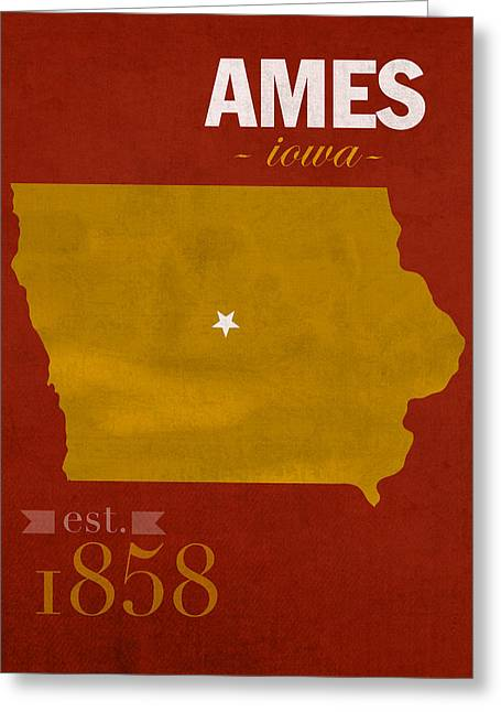 Iowa State University Cyclones Ames Iowa College Town State Map Poster Series No 050 Greeting Card