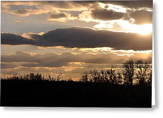 Greeting Card featuring the digital art Iowa Sunset by Kirt Tisdale