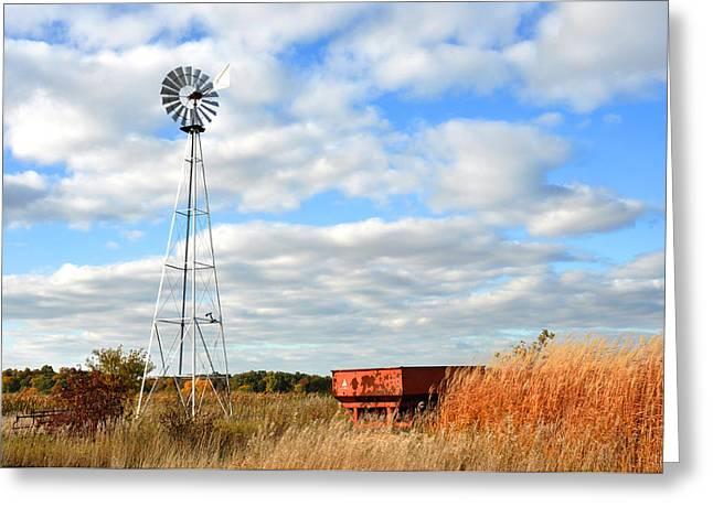 Iowa Windmill Greeting Card by Diane Lent