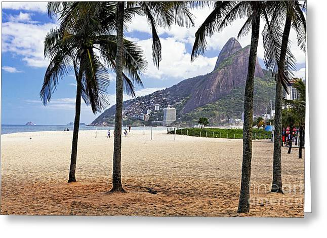 Ipanema Beach Palm Trees Greeting Card by George Oze