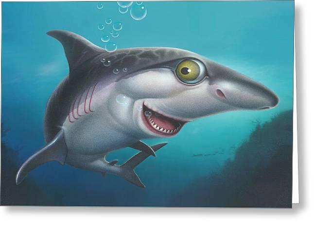 iPhone - Galaxy Case - friendly Shark Cartoony cartoon under sea  Greeting Card by Walt Curlee