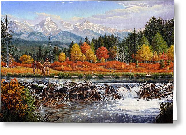 iPhone - Galaxy Case - Western Mountain Landscape Autumn Mountain Man Trapper Beaver Dam Greeting Card by Walt Curlee