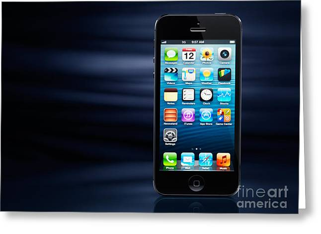 iPhone 5 on dynamic blue background Greeting Card by Oleksiy Maksymenko