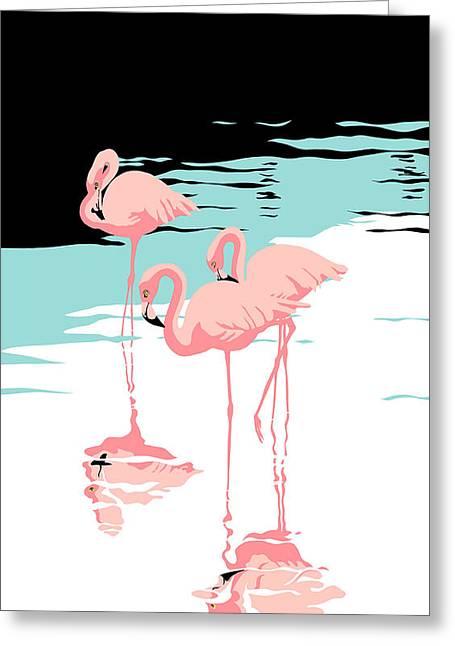iPhone Case - Pink Flamingos - tropical 1980s abstract -  pop art nouveau - retro florida Greeting Card