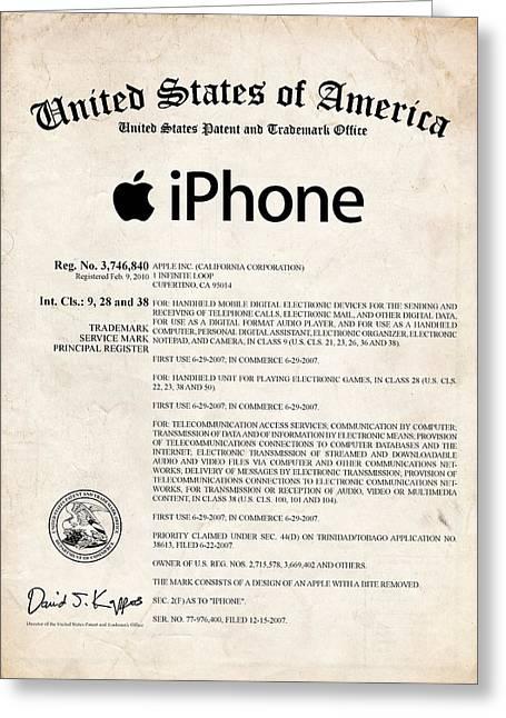 iPhone Certificate Patent Art Greeting Card