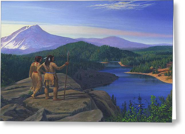 iPhone - Galaxy Case Native American Indian Maiden And Warrior Western Mountain Landscape Greeting Card