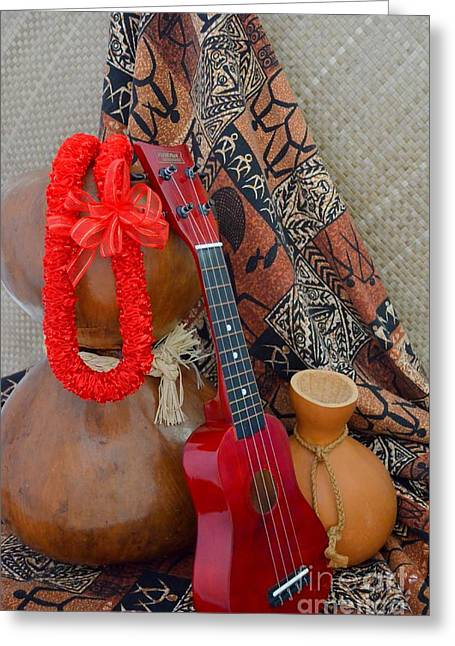 Ipu Heke And Red Ukulele And Red Satin Lei Greeting Card by Mary Deal