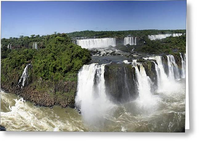 Iquazu Falls - South America      Panorama Greeting Card by Jon Berghoff