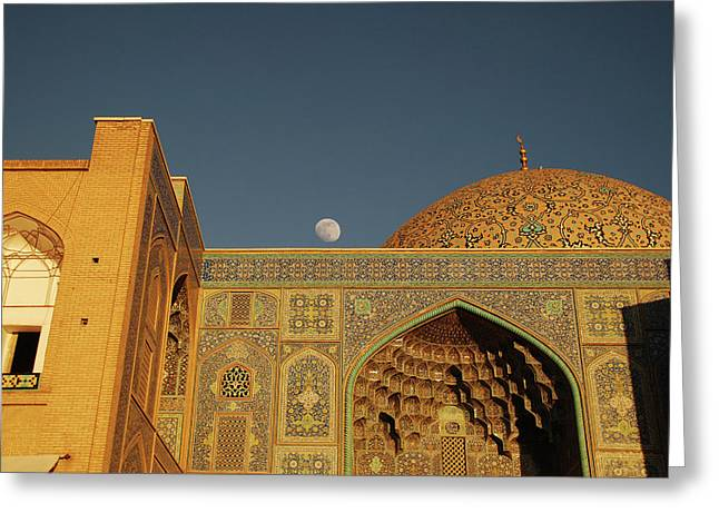 Iran, Isfahan, Moonrise Over Imam Greeting Card by Stephanie Rabemiafara