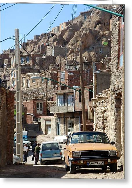 Iran Kandovan Cars And Wires Greeting Card by Lois Ivancin Tavaf