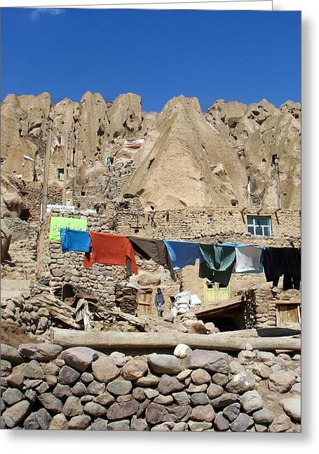 Iran Kandovan Stone Village Laundry Greeting Card by Lois Ivancin Tavaf