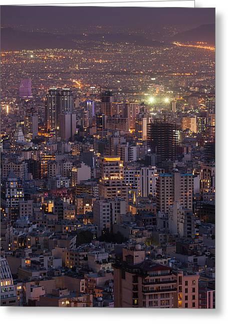 Iran, Tehran, Elevated City Skyline Greeting Card