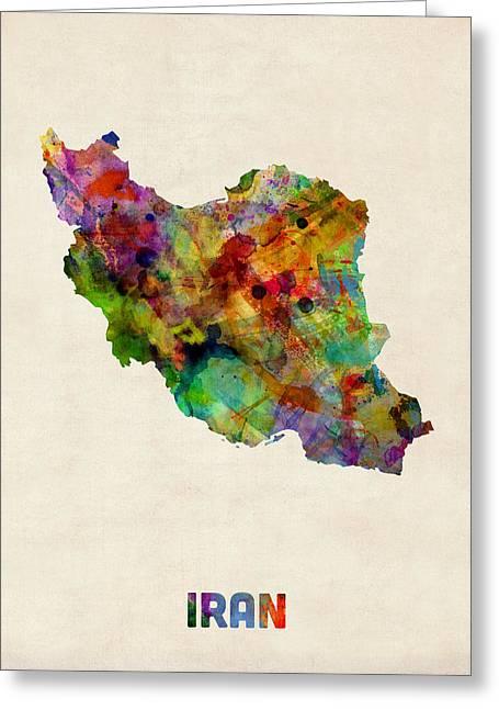 Iran Watercolor Map Greeting Card
