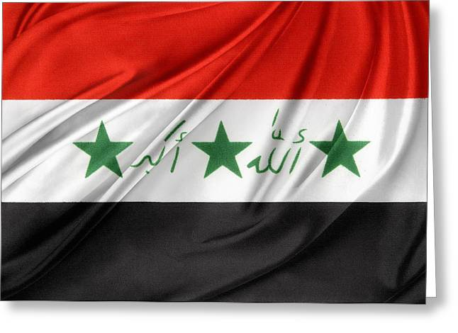 Iraq Flag Greeting Card by Les Cunliffe