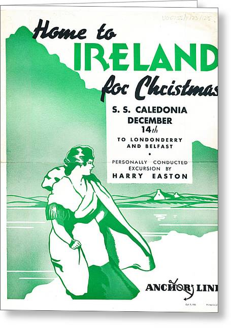 Ireland For Christmas Vintage Poster Greeting Card by Celestial Images