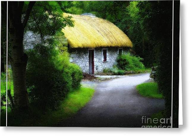 Irelands Folk Park Cottage Oil Painting Effect Greeting Card by Robert Santuci