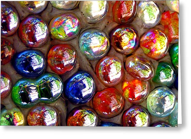 Iridescent Glass Marbles Mosaic Greeting Card